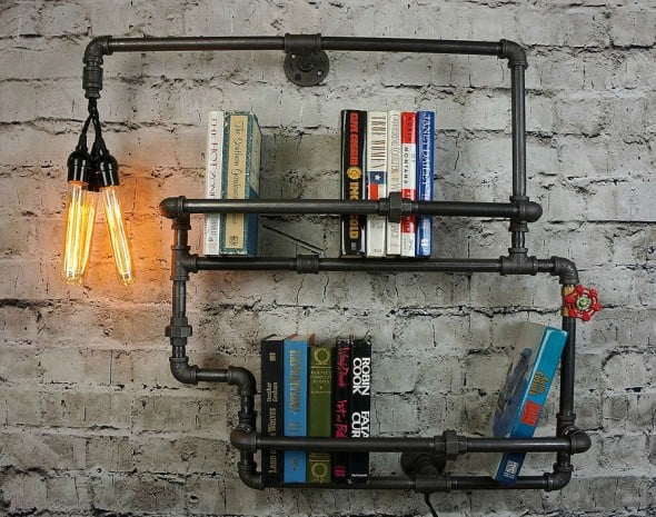 9th Ave Iron Works Lighted Brighton Two Tiered Iron Bookshelf Industrial Interior