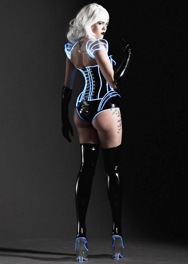 Artifice Clothing Clear PVC and Blue Glow Trim Pauldron Shrug Tron Fantasy