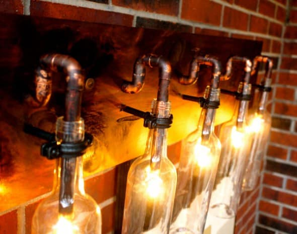 BSquared Inc Wine Bottle Light Lamp Cool Fixture Steampunk