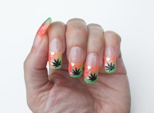 Bio Lumi Nails Cannabis Leaf Creative Design
