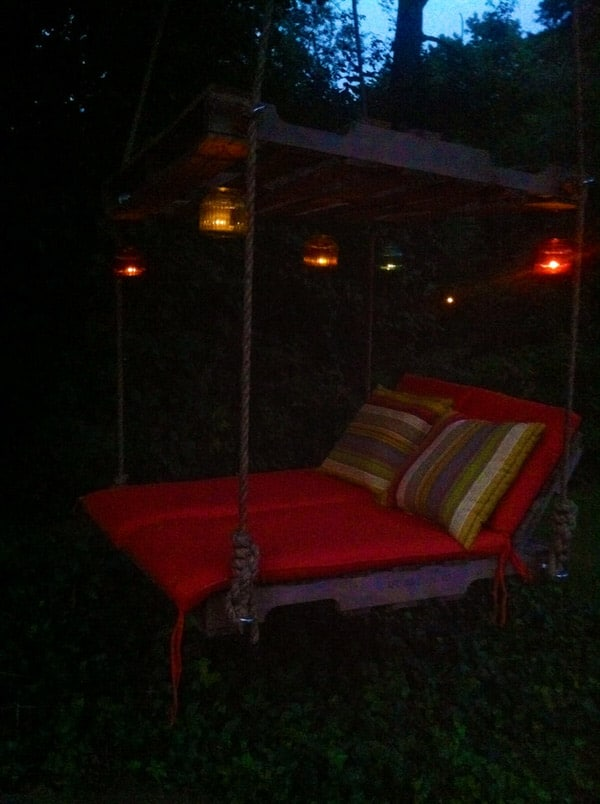 Crooked River Wood Work Pallet Lounger with Candles