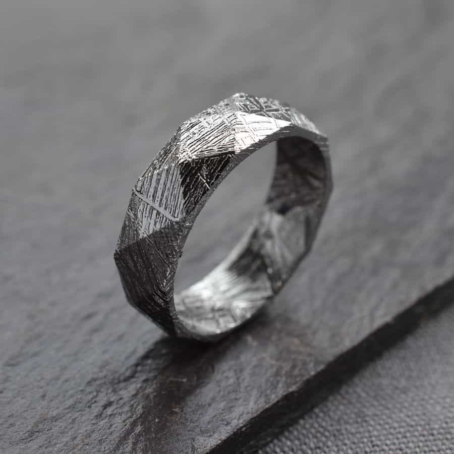 Faceted Meteorite Ring Beautiful Wedding Ring