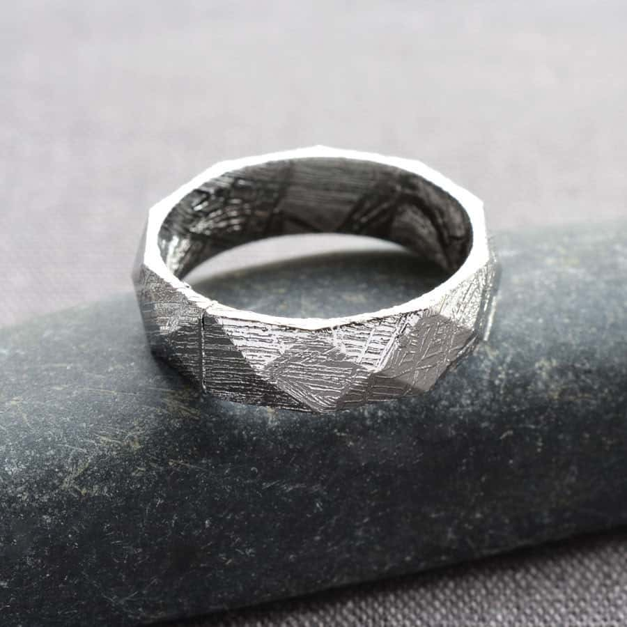 Faceted Meteorite Ring Eccentric Wedding Ring