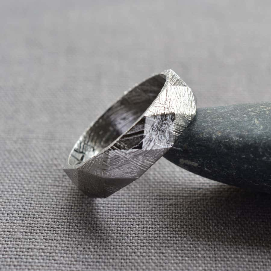 Faceted Meteorite Ring Exotic Wedding Ring