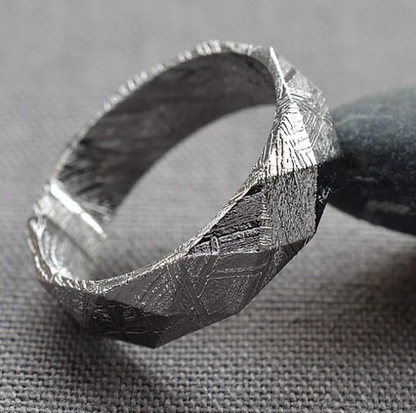 Faceted Meteorite Ring Unique Wedding Ring