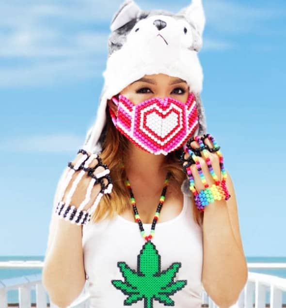 Kandi Gear Pink Hearts Kandi Mask Cool Rave Get Up