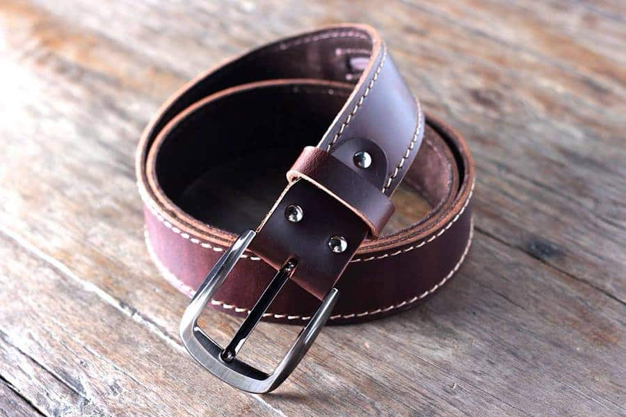 Leather Belt with Ninja Hidden Pocket  Dad Gift Idea