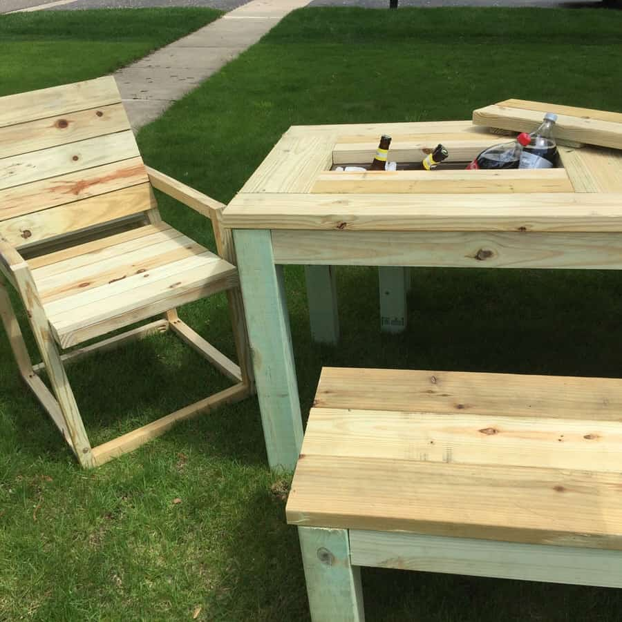Table Drinks Cooler Repurposed By Rob Patio Picnic Table Drink Coolers Noveltystreet