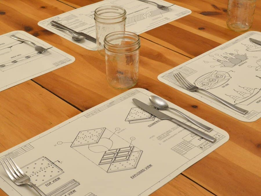 Awkward Engineer Engineering Blueprint Placemat Set Creative Product Design
