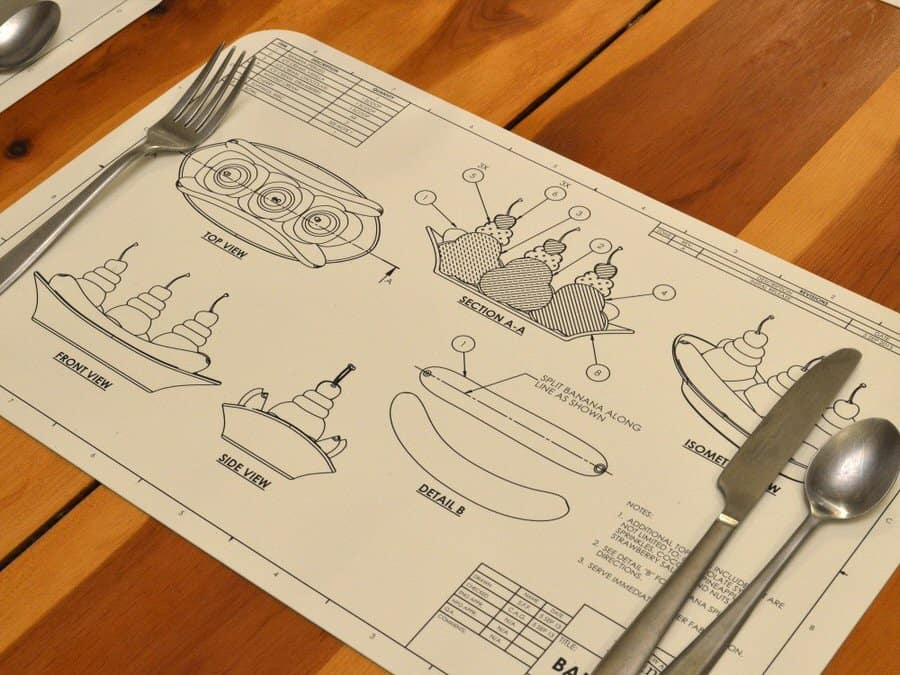 Awkward Engineer Engineering Blueprint Placemat Set Ice Cream Cross Section