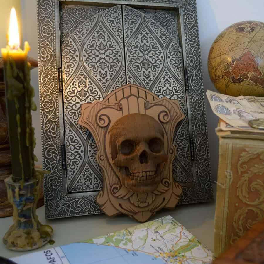Cardboard Safari Vince Wall Mounted Human Skull Aztec Motif