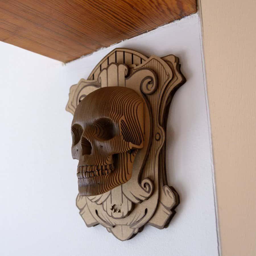 Cardboard Safari Vince Wall Mounted Human Skull Cool College Dorm Design