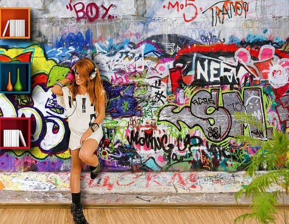 Cool Graffiti Photo Wall Mural Dorm Wallpaper