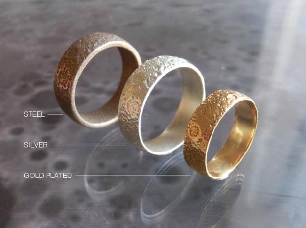 Cunicode 3D Printed Moon Ring Space Theme