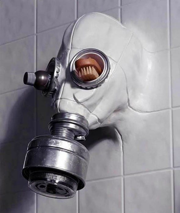 Gas Mask Shower Head by Chris Dimino Creepy Artwork Online