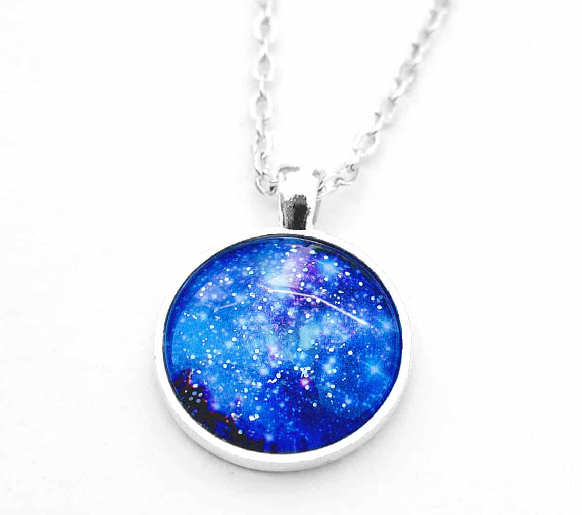 Hexafauna Glow in the Dark Galaxy Necklace Blue Fashion Accessory