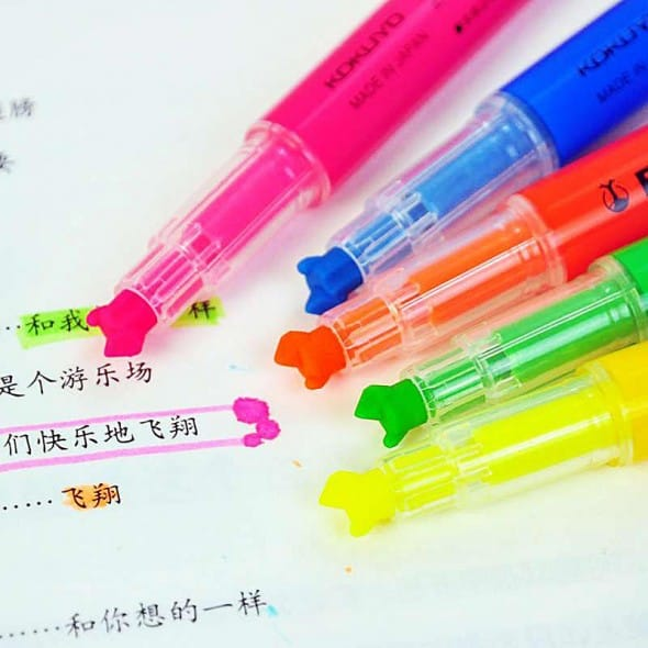 Kokuyo Beetle Tip 3-Way Highlighter Pen Cool Markers to Buy for School