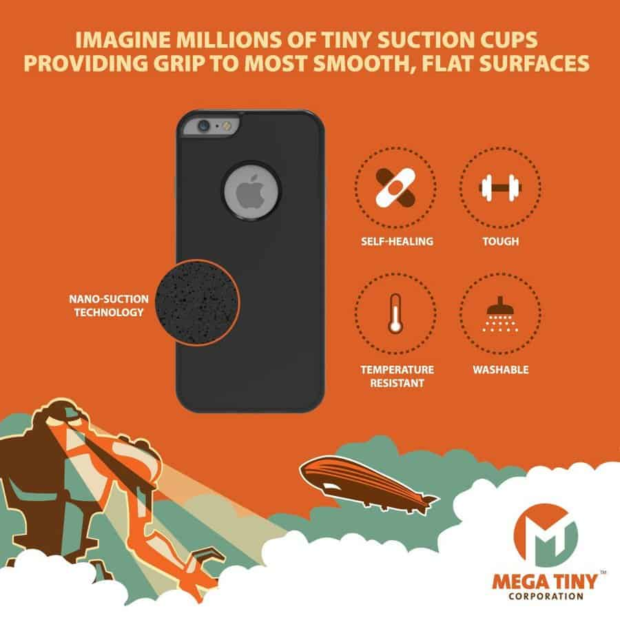 Mega Tiny Corp Anti-Gravity Selfie Case for iPhone Micro Suction