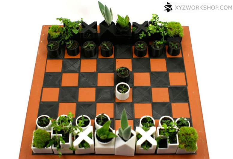 Micro Planter Chess Set One of a Kind