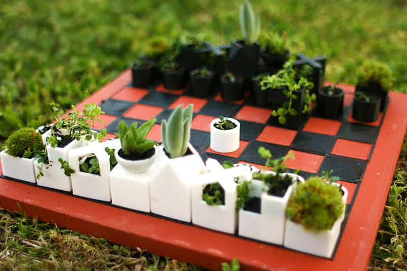 Micro Planter Chess Set Unique