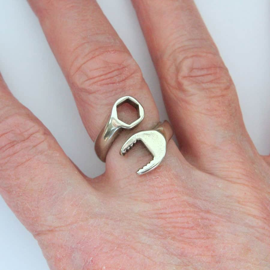 Moon Raven Designs Silver Spanner Wrench Ring Mechanic Gift Idea