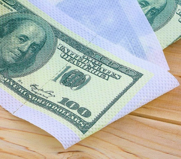 One Hundred Dollar Bill Toilet Paper Gag Gift Idea