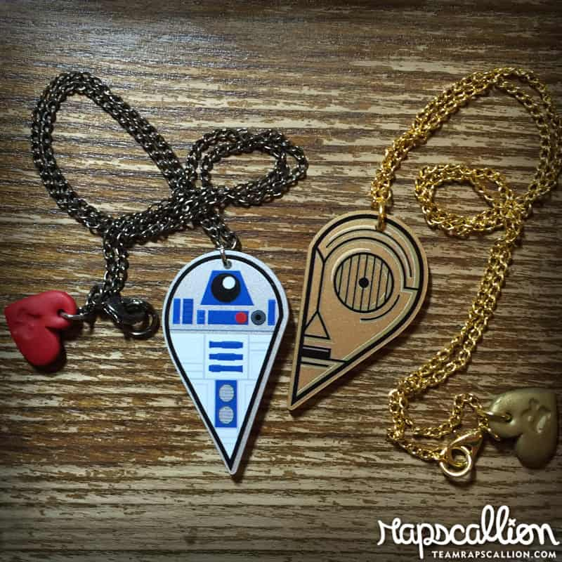 Rapscallion R2D2 and C3PO Best Friends Acrylic Necklace Cute Fashion Accessory