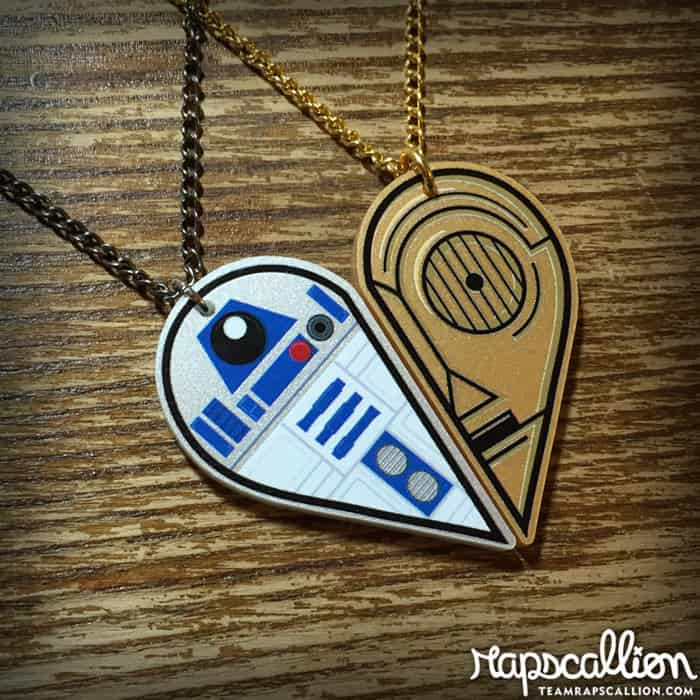 Rapscallion R2D2 and C3PO Best Friends Acrylic Necklace Heart Shaped