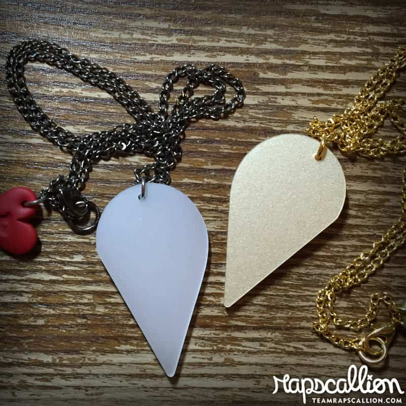 Rapscallion R2D2 and C3PO Best Friends Acrylic Necklace Teardrop Shaped