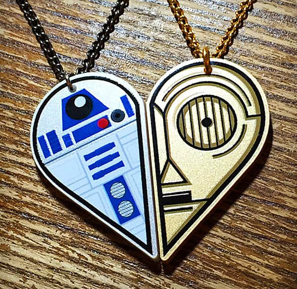 Rapscallion R2D2 and C3PO Best Friends Acrylic Necklace for Geek Girlfriend
