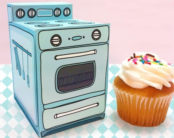 Retro Oven Cupcake Box by Claudine Hellmuth Cute Paper Product