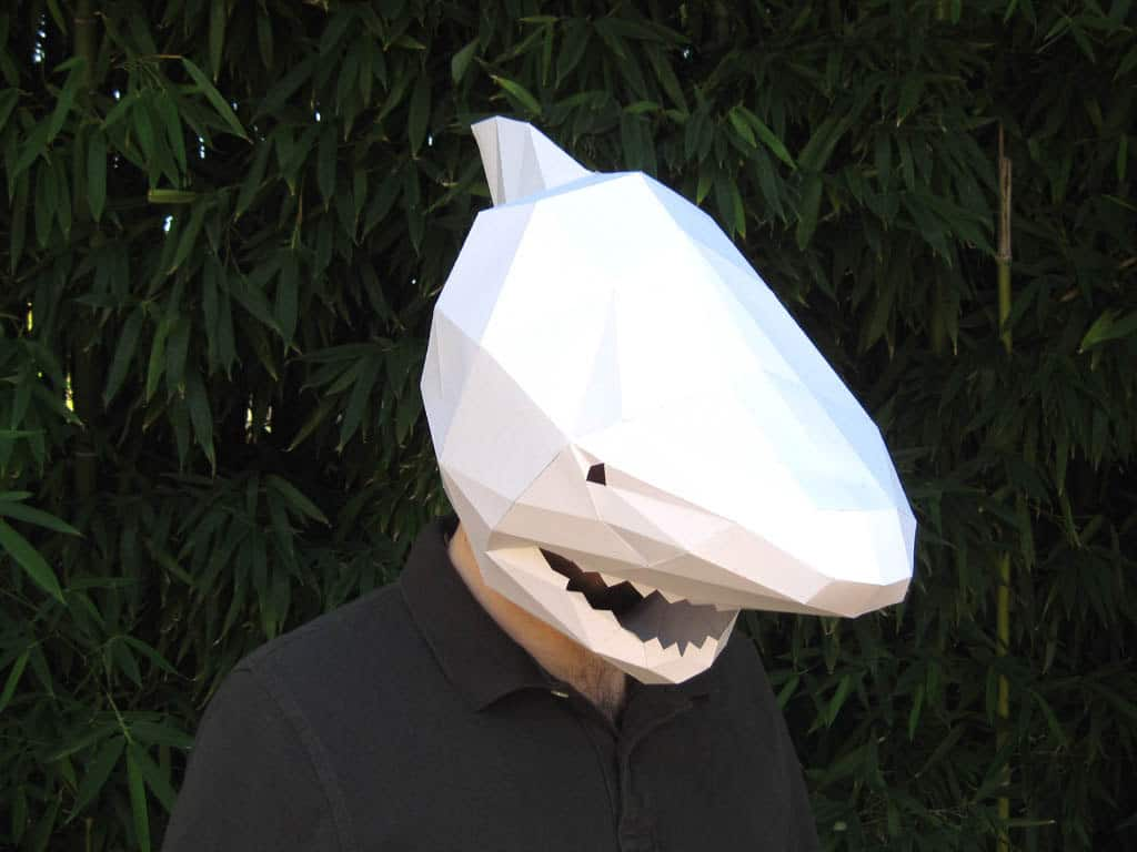 tetra variations diy paper shark mask noveltystreet don your own paper shark mask and scare random people on the streets fear no one except people paper harpoons the mask fits any adult s head but can