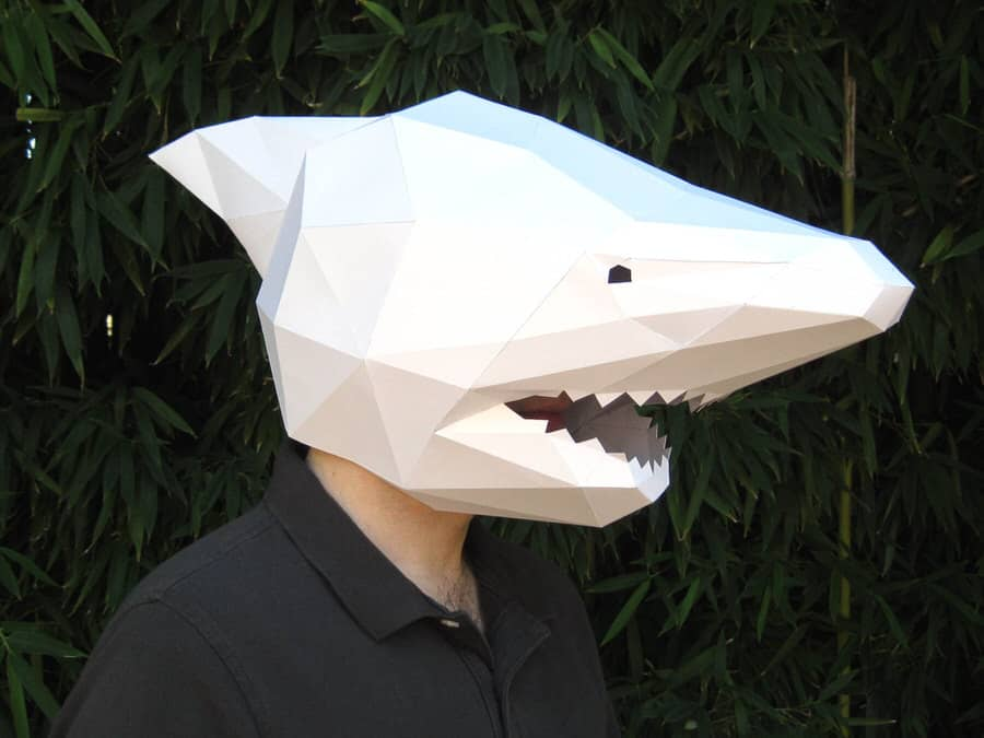 Tetra Variations DIY Paper Shark Mask Unique Head Costume