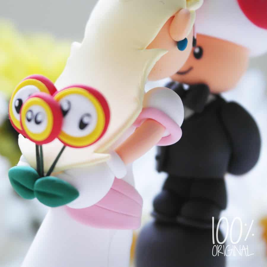 The Rosemarry Toppers Custom Mario Wedding Cake Topper Fire Flower Detail