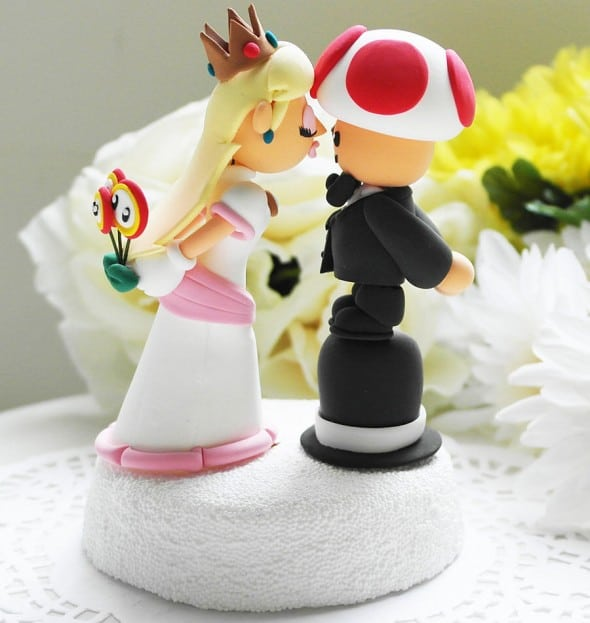 The Rosemarry Toppers Custom Mario Wedding Cake Topper Peach and Toad