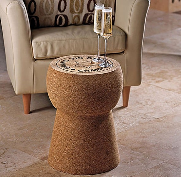The Wine Enthusiast Giant Champagne Cork Stool and Table Trendy Furniture