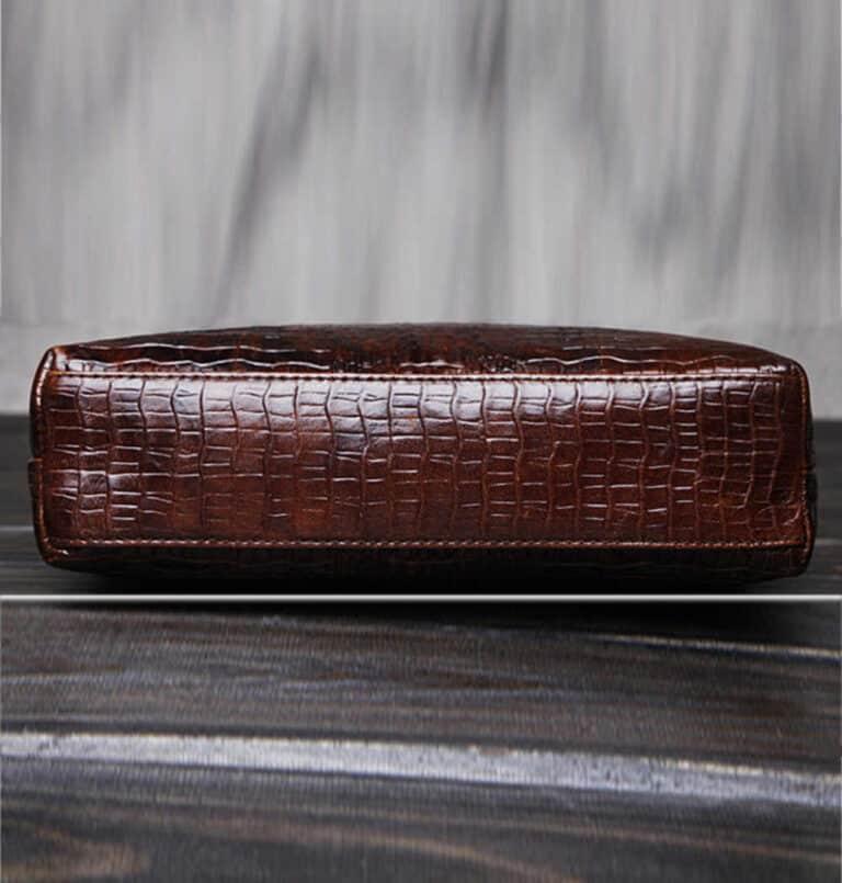 Crocodile Grain Messenger Bag Bottom Texture Detail