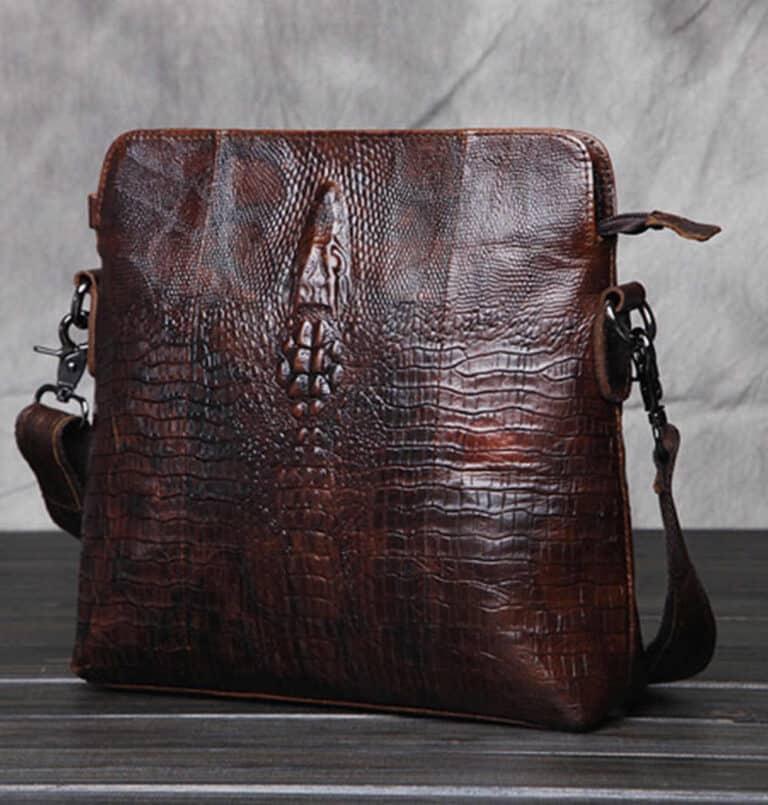 Crocodile Grain Messenger Bag Cow Hide Leather