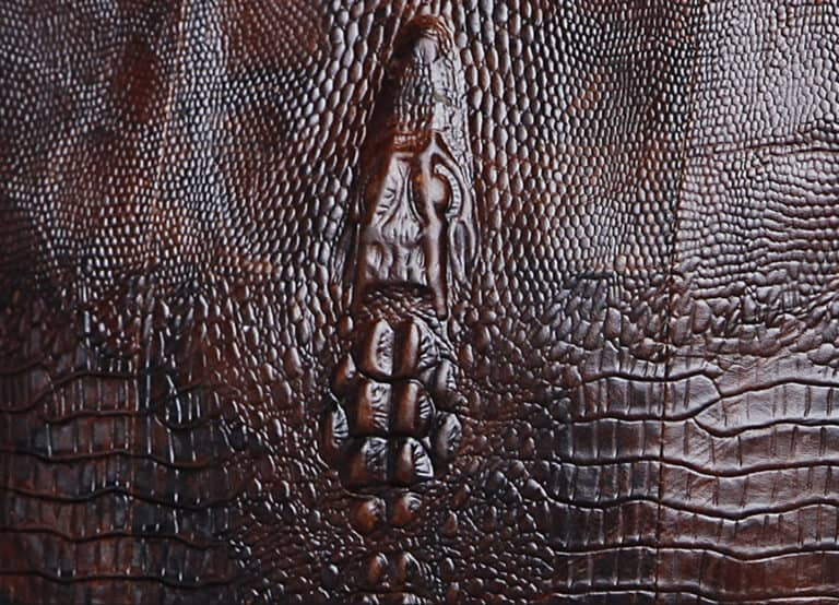 Crocodile Grain Messenger Bag Embossed Texture Detail