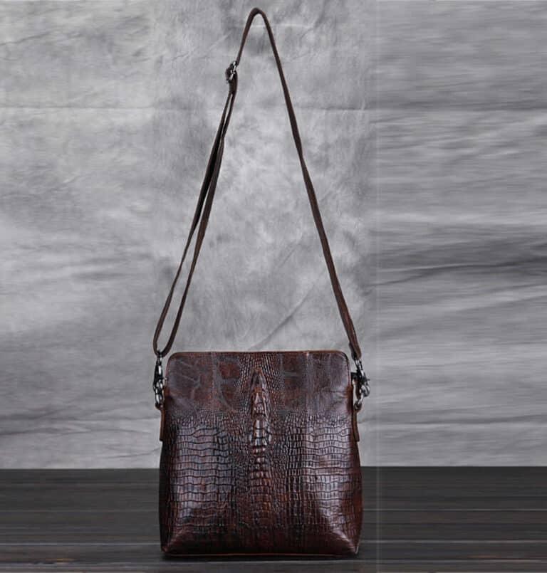 Crocodile Grain Messenger Bag Exotic Design
