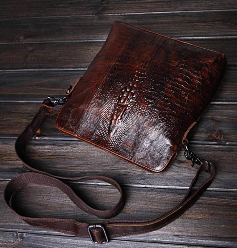 Crocodile Grain Messenger Bag Rugged Sachel