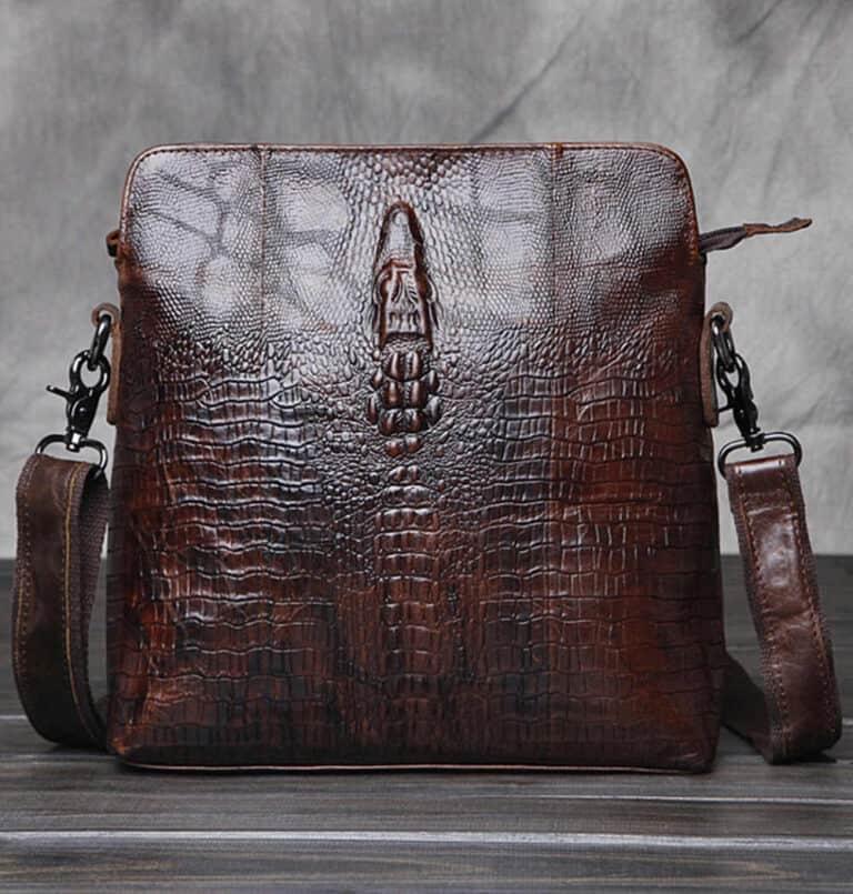 Crocodile Grain Messenger Bag Unique Man Purse