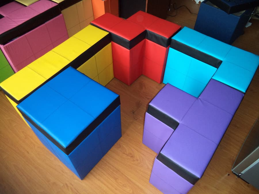 Cromaleon Tetris-shaped Storage Benches Colorful Fun Furniture