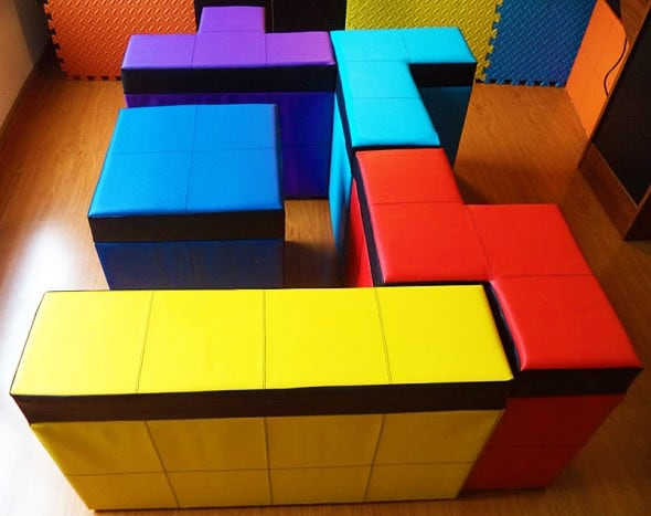 Cromaleon Tetris-shaped Storage Benches Colorful Gamer Furniture
