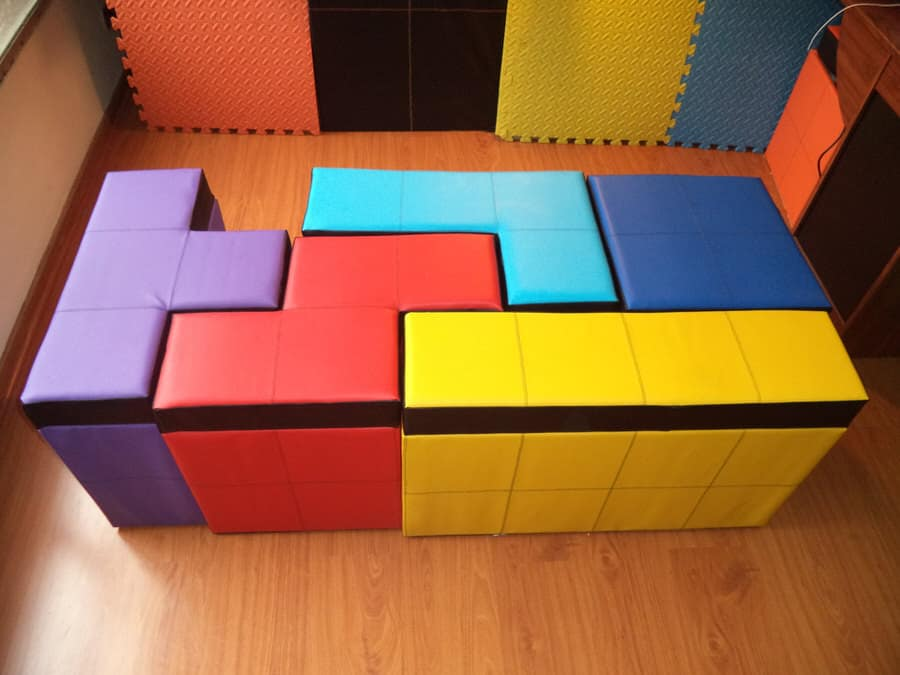 Cromaleon Tetris-shaped Storage Benches Retro Gamer Style