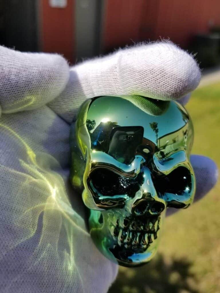 Elevator Glassworks Sick Skull Pipe Green Chrome