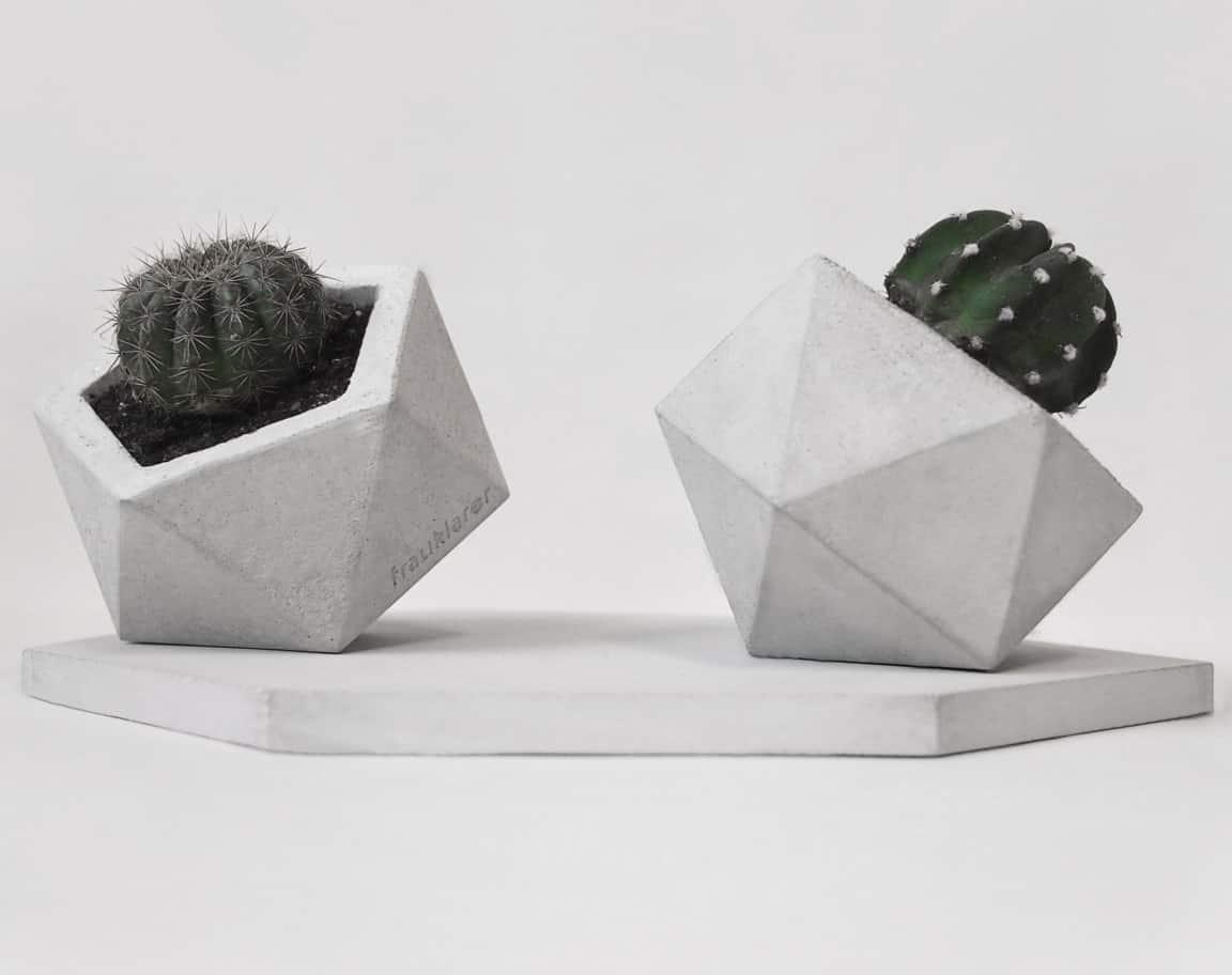 Frauklarer Geometric Concrete Planter Indoor Plants