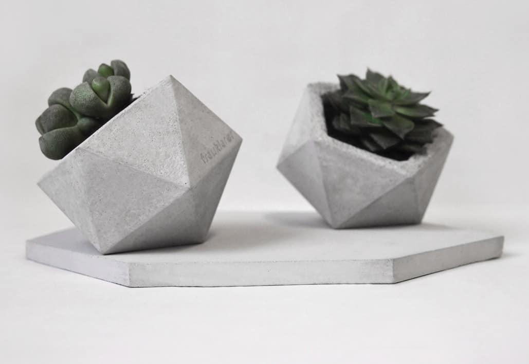 Frauklarer Geometric Concrete Planter for Cactus