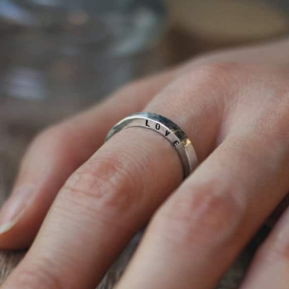 Kiss N Tell Personlized Knuckle Band Ring Love
