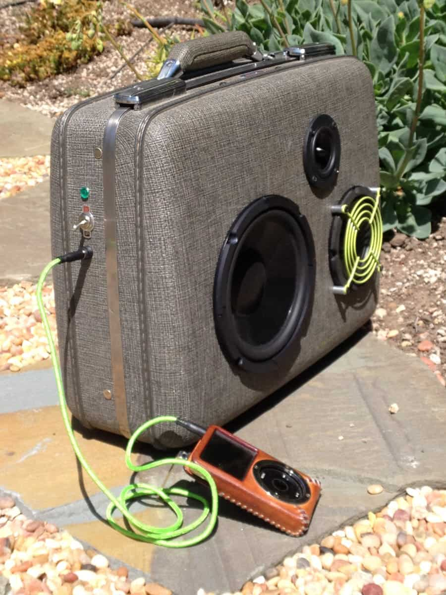 Makbuilt Vintage Suitcase Boombox Portable Speakers Old School Music Accessory